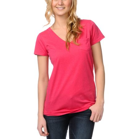 Zine Girls Bright Rose Pink V-Neck Tee Shirt