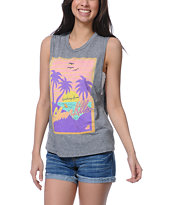 Glamour Kills Greetings From Heather Grey Cut-Off Tank Top