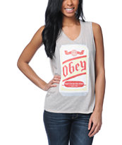 Obey Beer Me Heather Grey Felon Cut Off Tank Top