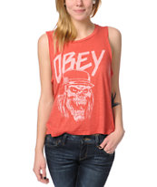 Obey Metal Head Red Felon Cut Off Tank Top