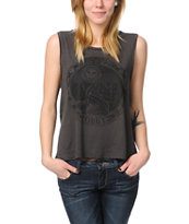 Obey Star Gazer Charcoal Felon Cut Off Tank Top