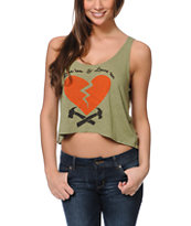 Obey Heartbreakers Green Breakup Crop Tank Top