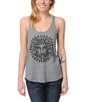 Obey Aztec Stencil Heather Grey Racerback Tank Top