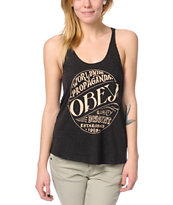 Obey Quality Heather Charcoal Racerback Tank Top
