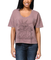 Obey Storm On The Horizon Mauve Vintage Crop Tee Shirt