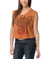 Obey Under World Tour Orange Voodoo Crop Tee Shirt
