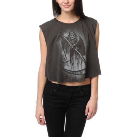 Obey Reap Reap Charcoal Voodoo Crop Tee Shirt