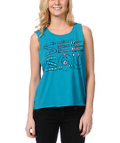 Insight See Saw Turquoise Muscle Tank Top