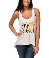 Stussy Girls Cali Bias Natural Racerback Tank Top