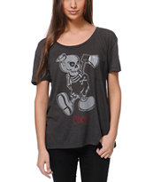 Obey Girls Oh Boy! Charcoal Throwback Tee Shirt