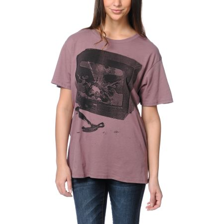 Obey Idiot Box Purple Tomboy Tee Shirt