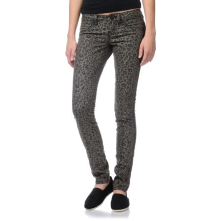 Volcom Girls Pistol Animal Print Skinny Jeans