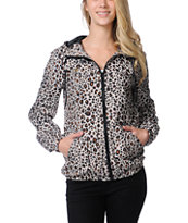 Volcom Girls Enemy Lines Animal Print Windbreaker Jacket