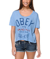 Obey All City Blue Mock Twist Gym Tee Shirt