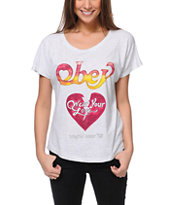Obey Girls Wear Your Love Heather White Tee Shirt