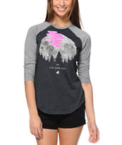 Glamour Kills Feel Good Lost Charcoal Baseball Tee Shirt