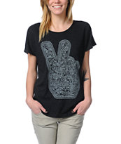 Obey Dirty Peace Fingers Heather Black Tri-Blend Tee Shirt