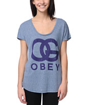 Obey OG Forever Heather Blue Mock Twist Tee Shirt