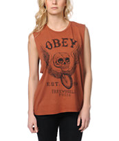 Obey Free Wheelin Brown Moto Cut-Off Tank Top