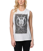 Obey Ghost Skull Natural Moto Cut-Off Tank Top