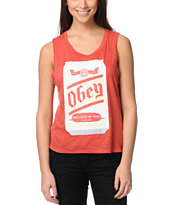 Obey Beer Me Heather Red Felon Cut Off Tank Top