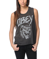 Obey Metal Head Charcoal Felon Cut Off Tank Top