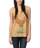 Obey Take Flight Yellow Felon Cut Off Tank Top
