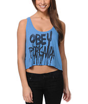 Obey Brush Dip Blue Breakup Crop Tank Top