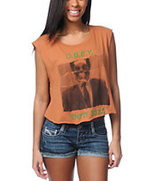 Obey Empty Souls Orange Voodoo Crop Tee Shirt