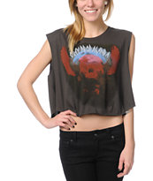 Obey Ride The Winds Charcoal Voodoo Crop Tee Shirt