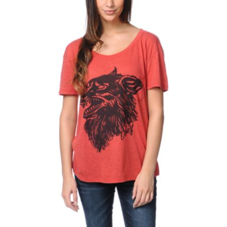 Obey Hell Hound Red Throwback Tee Shirt