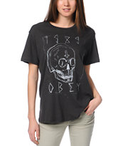 Obey Girls Deadly Skull Charcoal Tomboy Tee Shirt