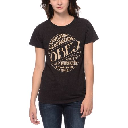 Obey Quality Heather Brown Tri-Blend Tee Shirt