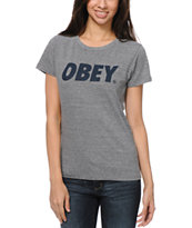Obey Font Heather Grey Tri-Blend Tee Shirt