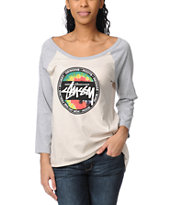 Stussy Girls Tie Dye Dot Heather Grey Baseball Tee Shirt