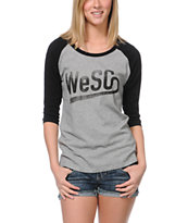 WeSC Girls Grey & Black Baseball Tee Shirt