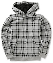 DC Boys T-star Grey & Black Plaid Sherpa Fleece Hoodie