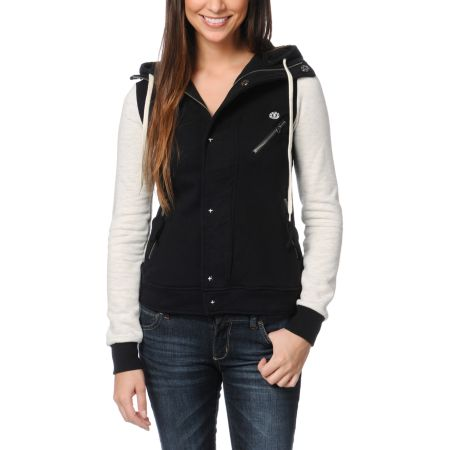 Element Girls Julianne Black & Grey Varsity Hoodie