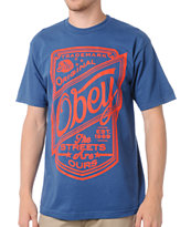 Obey Streets Are Ours Blue Tee Shirt