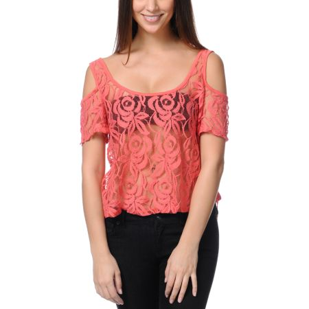 Love, Fire Cold Shoulder Lace Zipper Coral Top