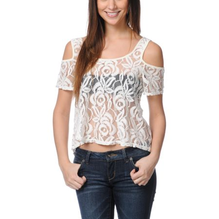 Love, Fire Cold Shoulder Lace Zipper Natural Top