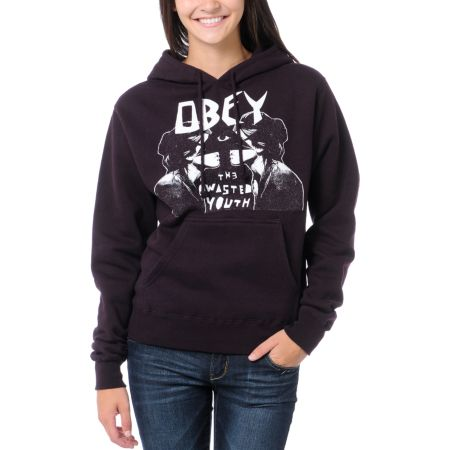 Obey Wasted Youth Blackberry Purple Pullover Hoodie