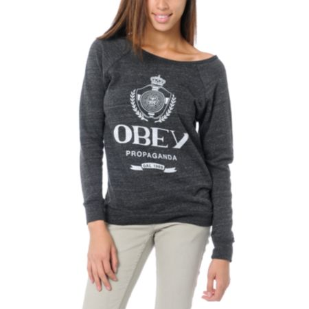 Obey Girls Nada Vandal Grey Crew Neck Sweatshirt