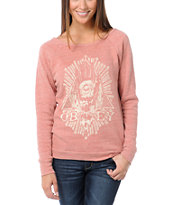 Obey All Eye Heather Red Vandal Crew Neck Sweatshirt