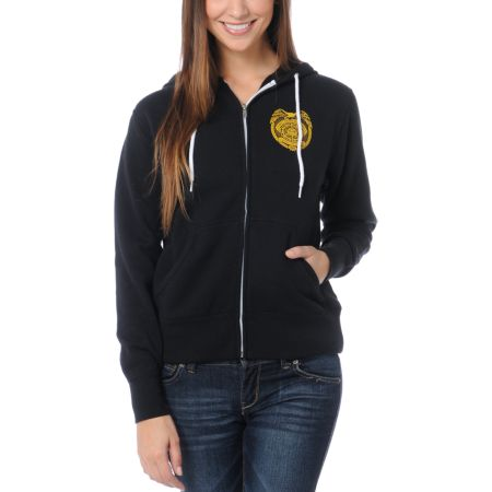 Obey Girls Serving The Streets Black Zip Up Hoodie