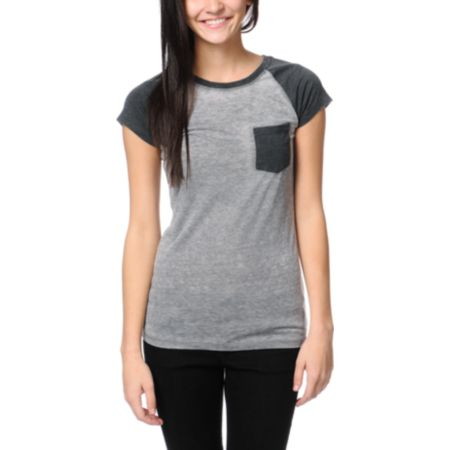 Empyre Girls Petra Nine Iron Grey Raglan Sleeve Tee Shirt