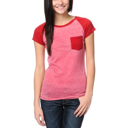 Empyre Girls Petra Jester Red Raglan Sleeve Tee Shirt