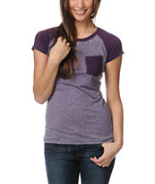Empyre Girls Petra Purple Pennant Raglan Sleeve Tee Shirt