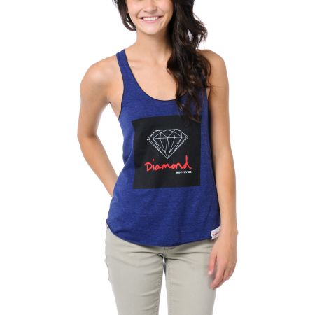 Diamond Supply Girls OG Sign Navy Blue Tank Top