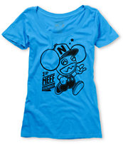 Neff x Deadmau5 Girls 1 Up Turquoise Crew Neck Tee Shirt